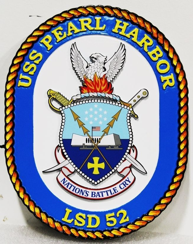 JP-1290 - Carved 2.5-D Plaque of the Navy Ship Crest of the USS Pearl Harbor, LSD 32, US Navy