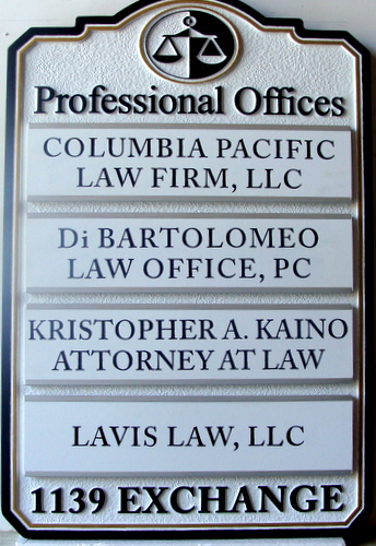 A10513 - Law Office Wall Directory Sign with Replaceable Nameplates