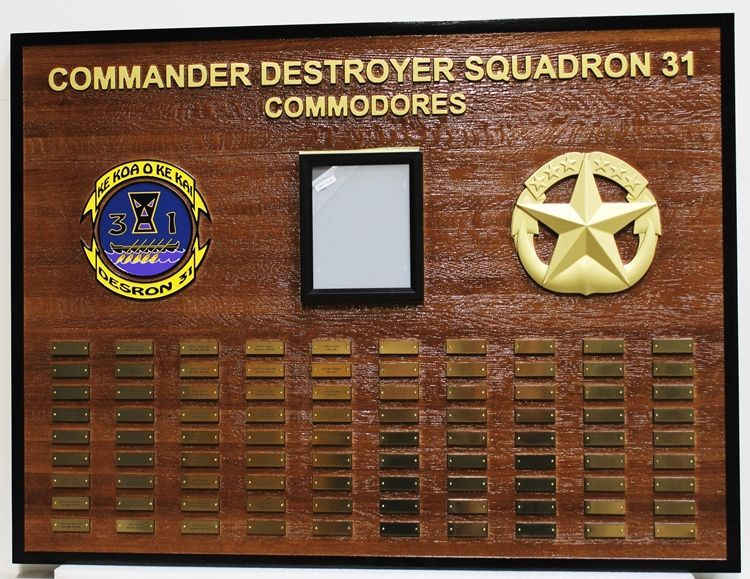 SB1070 - Recognition Plaque Honoring Commodores Who Commanded Destroyer Squadron 31 (DESRON 31) of the US Navy, based in Hawaii,  Carved from Hawaiian Koa Wood.