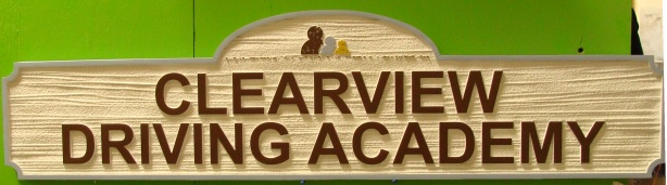 FA15660 - Carved and Sandblasted Wood Grain sign for Clearview  Driving Academy