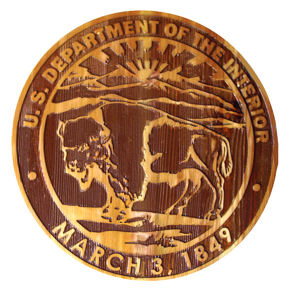 U30184 – Carved 2.5-D Redwood Plaque of the Seal of the Department of the Interior, with Bison
