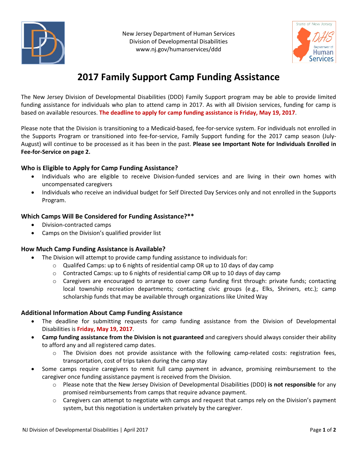 2017 Family Support Camp Funding Assistance
