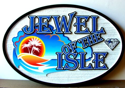 "L21116 - Carved HDU Jewelry Store Sign ""Jewel of the Isle"" with Diamond, Sun and Ocean"