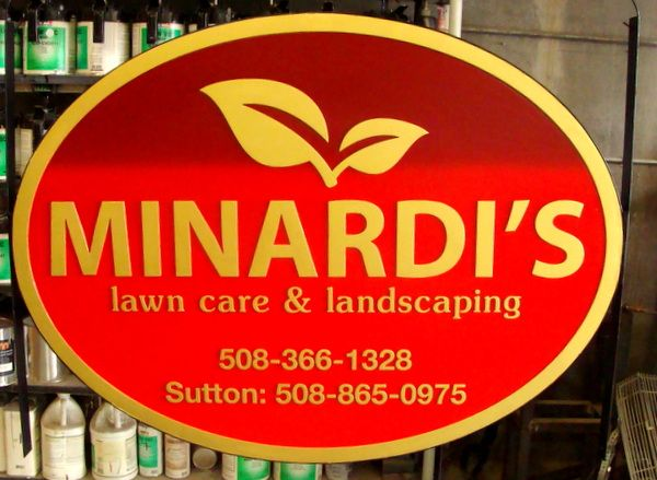 "SA28658 - Carved 2.5-D  Sign for ""Minardi's Lawncare and Landscaping"" with Leaf Logo as Artwork"