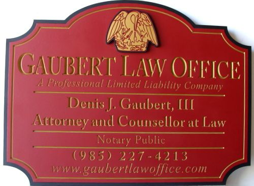 A10015  - Engraved Louisiana Law Office Sign with Gold Leaf Text and Pelican