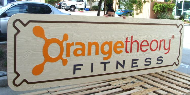 M5018 - Carved Cedar Orange Theory Fitness Center Sign Sign