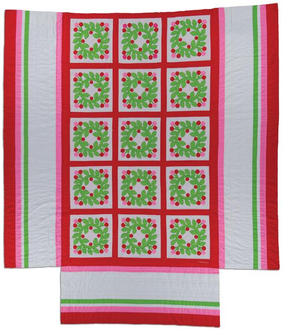 'Cherry Wreath Quilt,' 1976, appliqué, 91 x 104.5 in, IQSCM 2010.014.0027