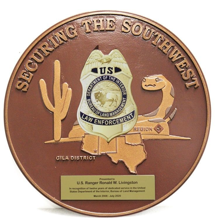 AP-4134 - Carved 2.5-D HDU Seal and Badge  of the Southwest Division of the  Bureau of Land Management