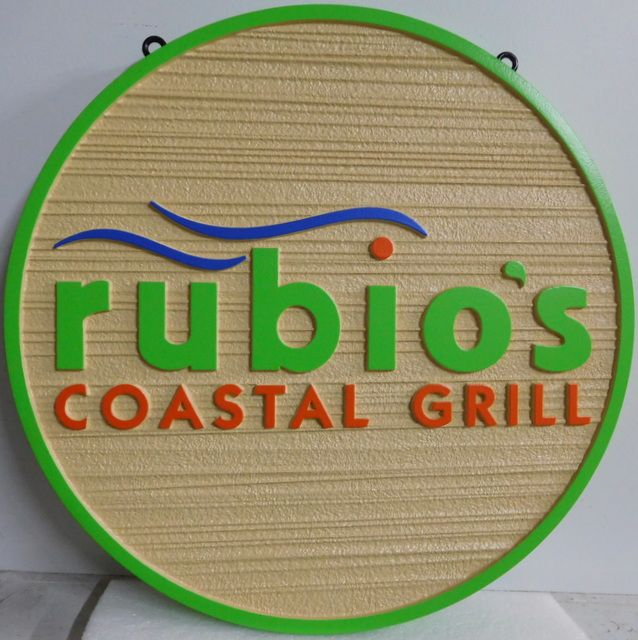 Q25824 - Colorful, Carved, Round, HDU Sign with Wave Logo for Rubio's Coastal Grill Restaurant (See Q-25819 for Rectangular Rubio's Sign)