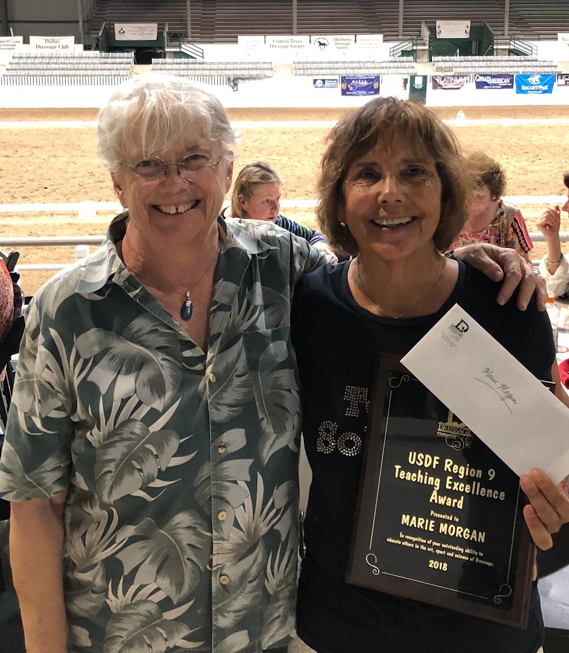 Marie Morgan Awarded TDF's   2018 USDF Region 9 Teaching Excellence Award