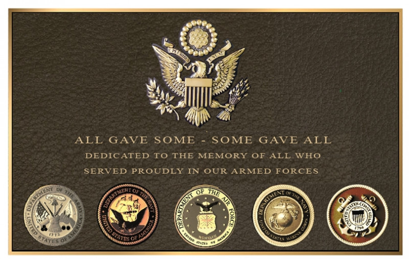 "GC15820-  Brass Wall Plaque Honoring the Men and Women Who Served in the US Armed Forces ""All Gave Some, Some Gave All"", with Five Service Seals and US Great Seal Eagle"