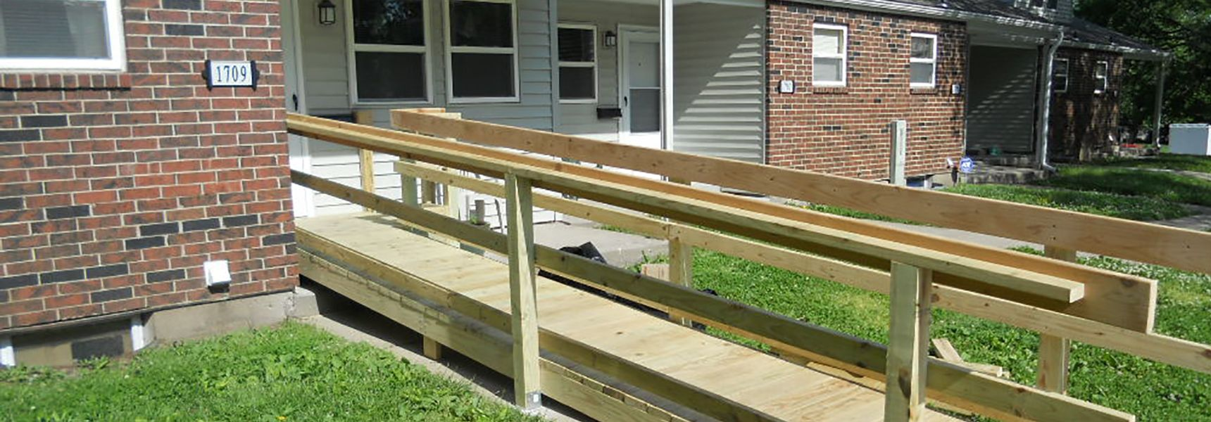 Newly built ramp to front of house
