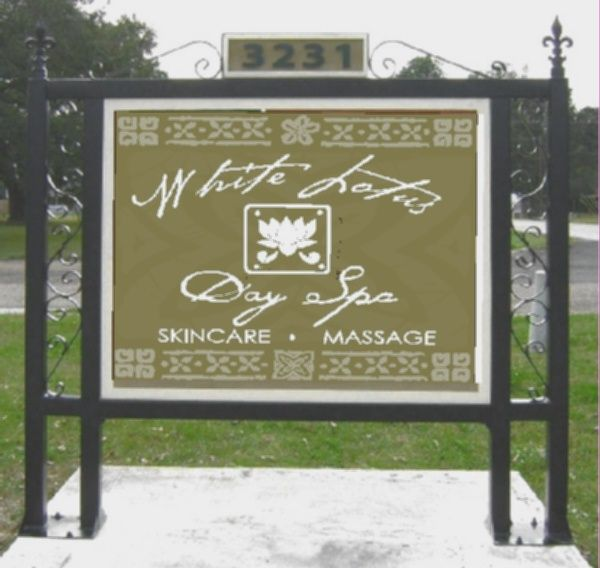 """S28042 - Entrance Sign for""""White Lotus  Day Spa"""" with Lotus and Ornate Iron Support Frame"""