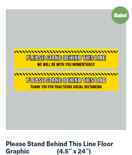 24″ x 4.5″ - Please Stand Behind This Line Floor Graphic