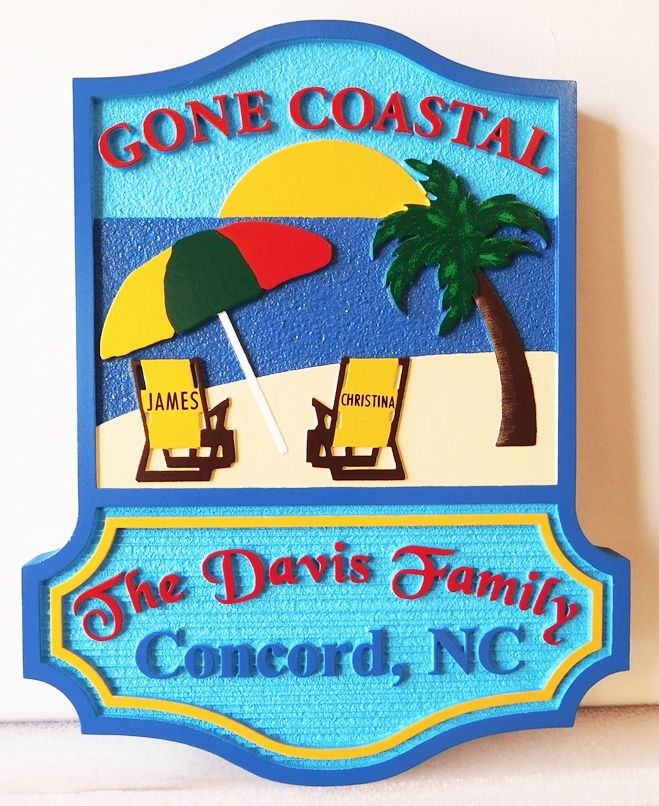 "L21025 -  Beach House Sign ""Gone Coastal"" with Umbrella, Chairs, Ocean, Setting Sun and Family  Name"