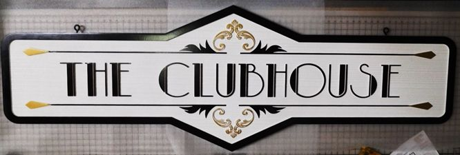 "E14158 - Carved Ornate Sign  ""The Clubhouse"", 2.5-D Raised Relief"