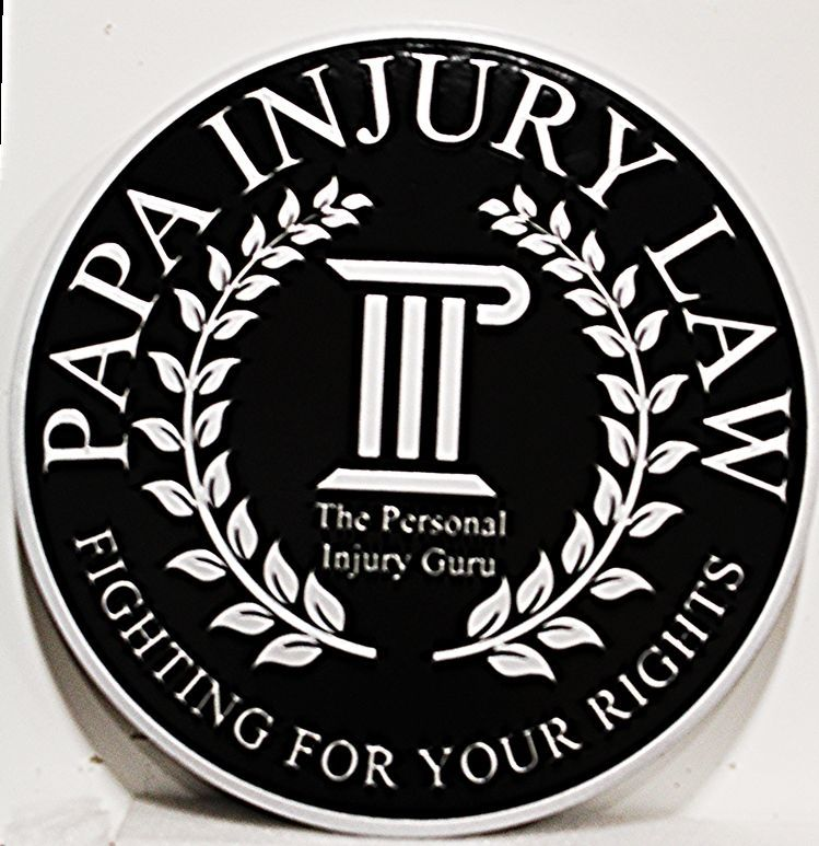 A10310 - Carved2.5-D Raised Relief HDU  Round Sign for the Papa Injury LawFirm