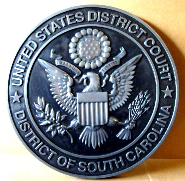 A10826 - Carved 3-D Silver-Nickel  Wall Plaque of Great Seal for US District Court, South Carolina