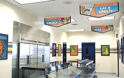 Elementary school cafeteria line with 3 banners hanging from ceiling, encourage healthy eating, custom signs