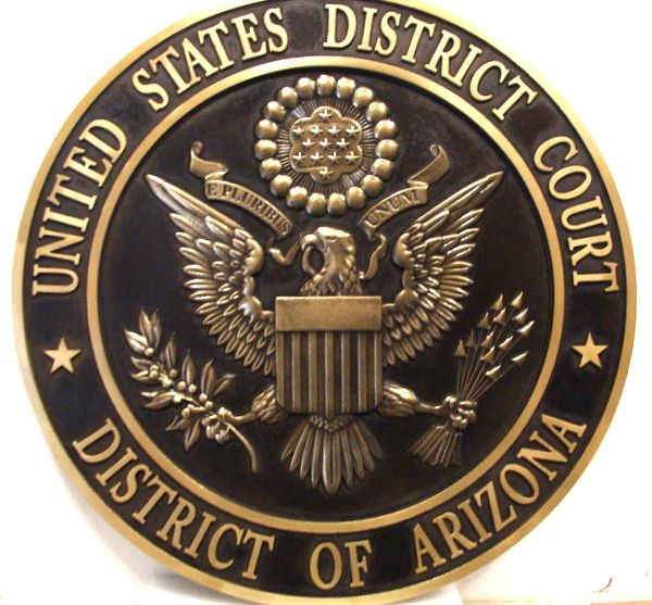 FP-1360 - Carved Plaque of the  Seal  of the US District Court,  District of Arizona, Brass Plated
