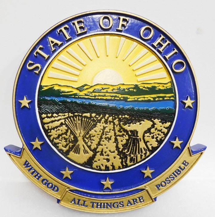 W32403  - Carved 2.5-D HDU  Plaque of the Great Seal of the State of Ohio