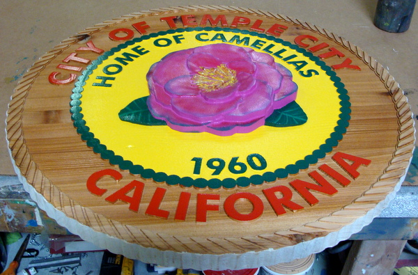 X33216 - Carved Cedar Wooden Wall Plaque of the Seal of Temple City, CA with Camellia