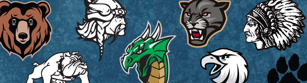 Graphic of many school mascots used to make custom signs and school signs