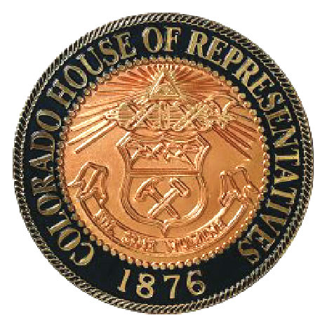 W32081 -  2.5 D Colorado Great Seal for House of Representatives, Gold-Leaf Text and Copper Coated Outline Relief Art