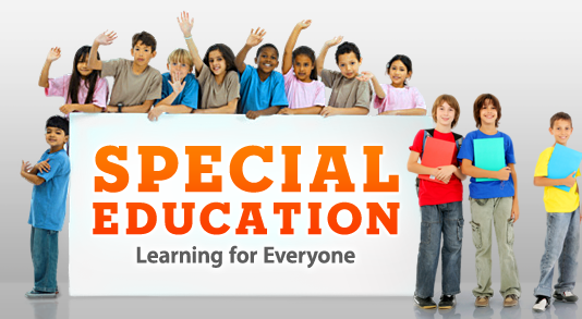 "Special Education sign ""Learning for Everyone"" with children standing next to sign"