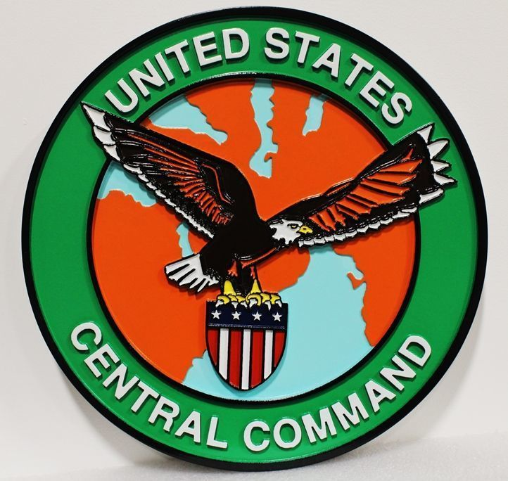 V31719 - Carved  2.5-D HDU Plaquefor  the Central Command of the US Army