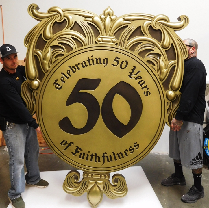 D13040 -  Large Carved HDU Decorative Plaque Celebrating a Church's 50th Anniversary, 3-D Bas-Relief and Brass Metal Plated