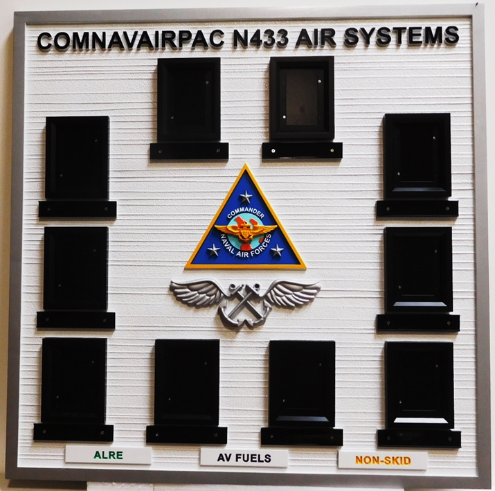 JP-1510 - Custom Photo Wall Plaque with Photos of the Members of US Navy ComNavairPac N433 Air Systems