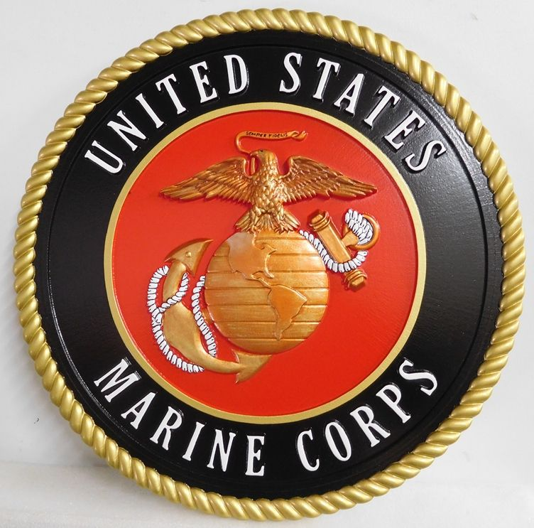 KP-1080 -  Carved Emblem of the US Marine Corps,3-D  Artist Painted