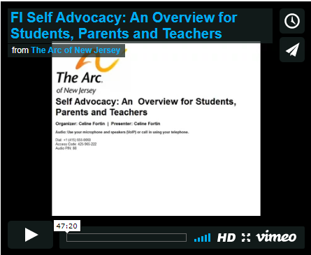 Self Advocacy: An Overview for Students, Parents and Teachers