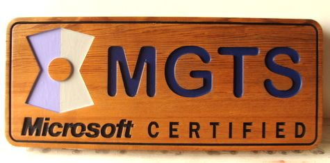 """SA28739 - Carved Cedar Wood Wall Plaque for """"Microsoft Certified"""" Business"""
