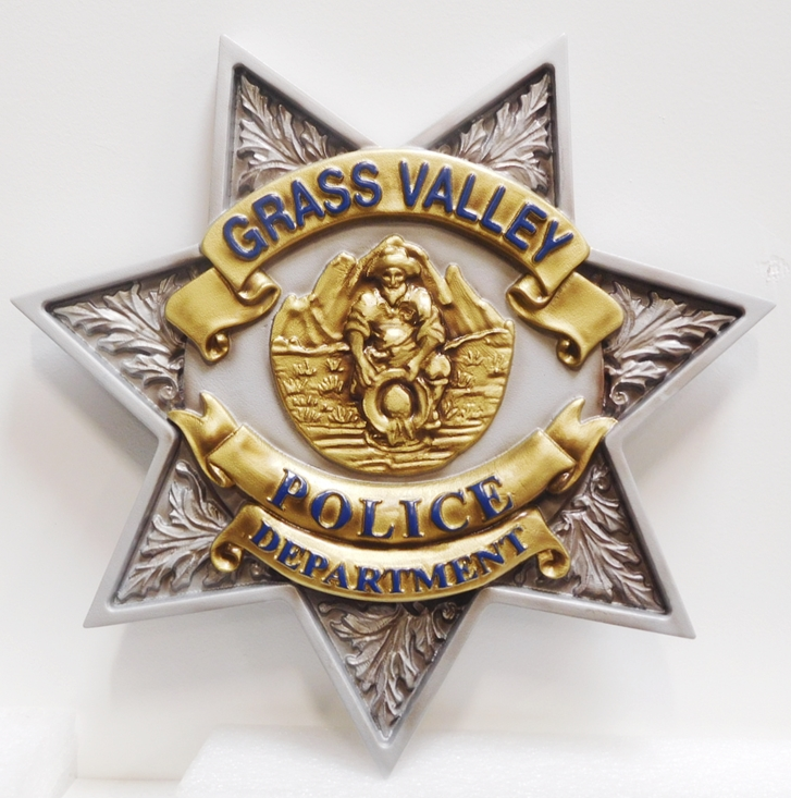 PP-1630 - Carved Plaque of the Star Badge of the Police Department of Grass Valley, California, 3-D Artist-Painted