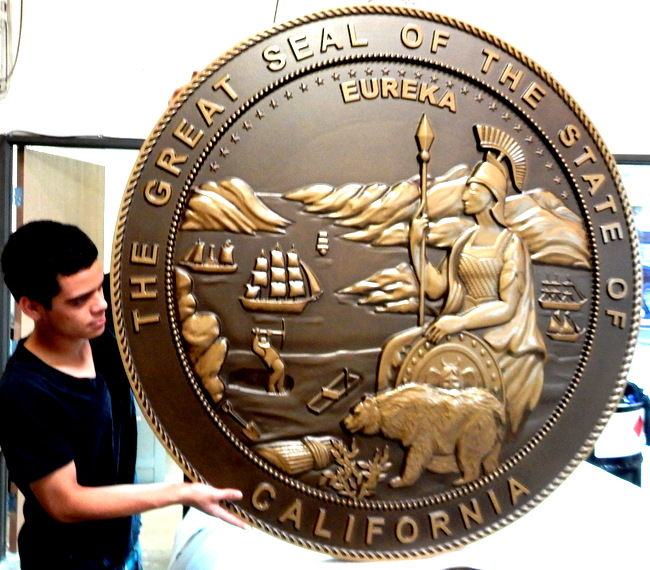 M7512 - Carved Bronze Round Wall Plaque of the Great Seal of California