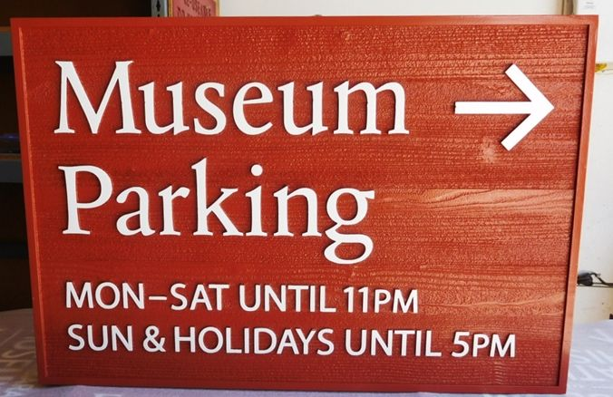 F15931 - Carved Cedar Museum Parking  Sign, 2.5-D