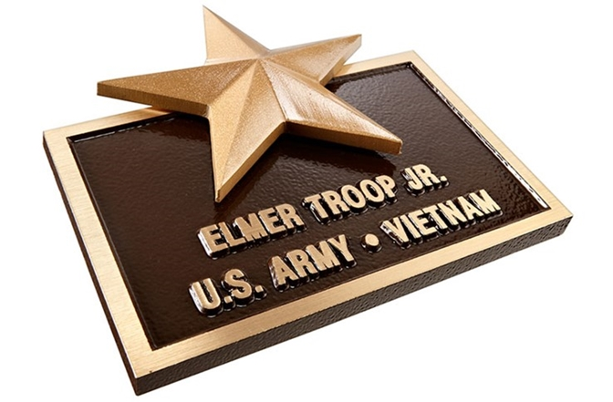 MH8075 -Cast Bronze Memorial Plaque for Veteran, with Star, 3-D