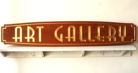 SA28303 - Elegant Carved Mahogany  Art Gallery Sign with 24K Gold Leaf Gilding