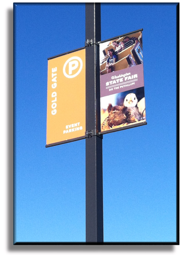 Our new pole sign brackets installed at the 2013 Washington State Fair!