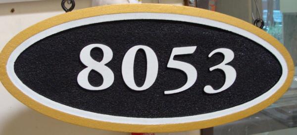 I18868 - Carved and Sandblasted HDU Address Number Sign, Ellipse