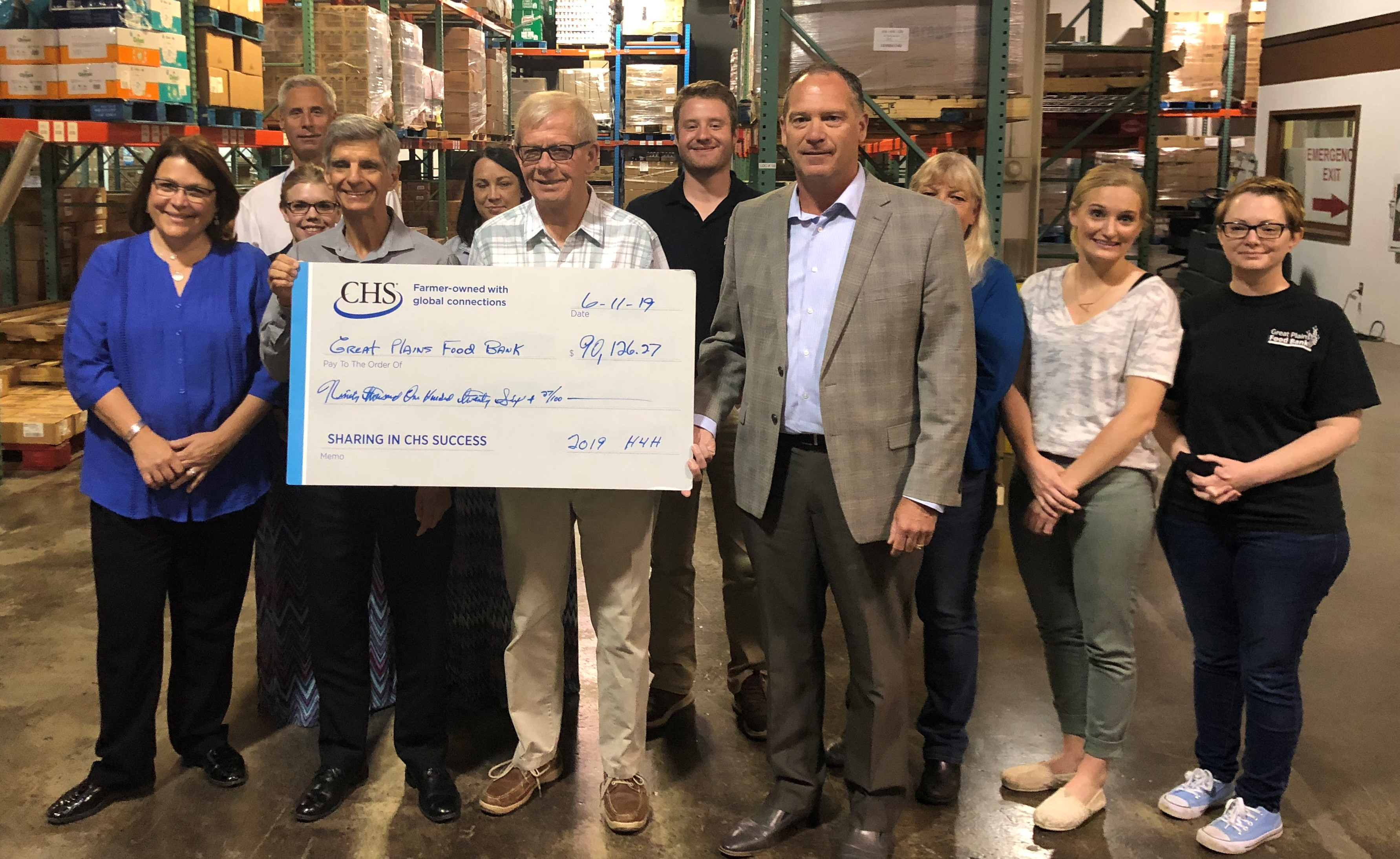 CHS donates $90,126 to Great Plains Food Bank