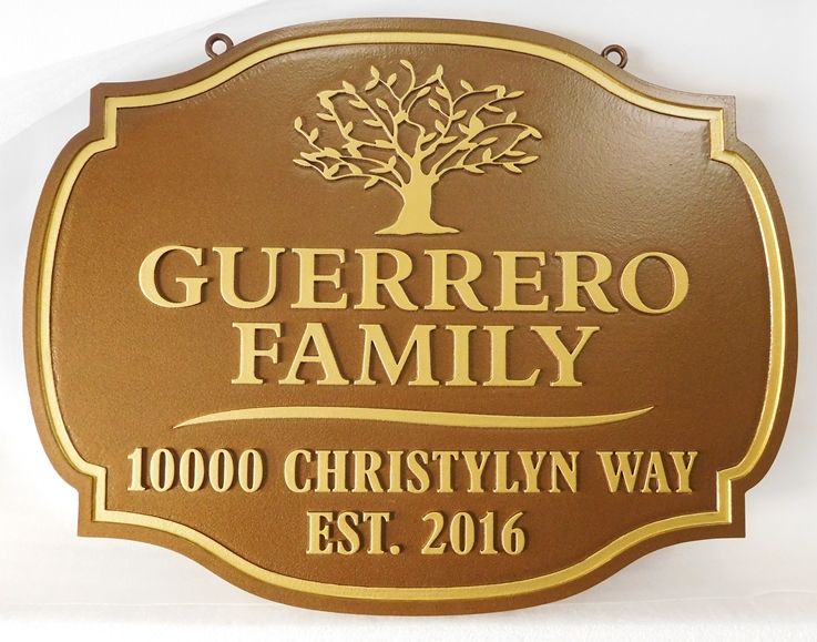 "I18320 - Carved 2.5-D Property Address  Sign, for an Residence (""Guerrero Family""), with Stylized Tree as Artwork"