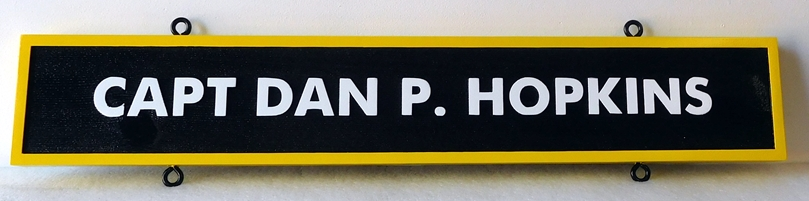 JP-2660 - Carved Nameplate Plaque of Navy Captain, Artist Painted