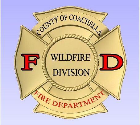 QP-1180 - Carved Wall Plaque of  the Badge of the Coachella County Wildfire Division,  Painted Metallic Gold