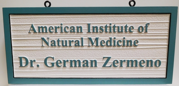 """B11086 - Carved and Sandblasted 2.5-D Wood Grain Sign for the """"American Institute of Natural Medicine"""""""