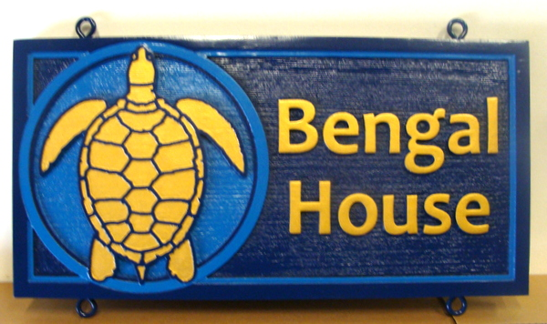"L21666 - Carved and Sandblasted Cedar Wooden Sign for Seashore Cottage  with Turtle, ""Bengal House"""