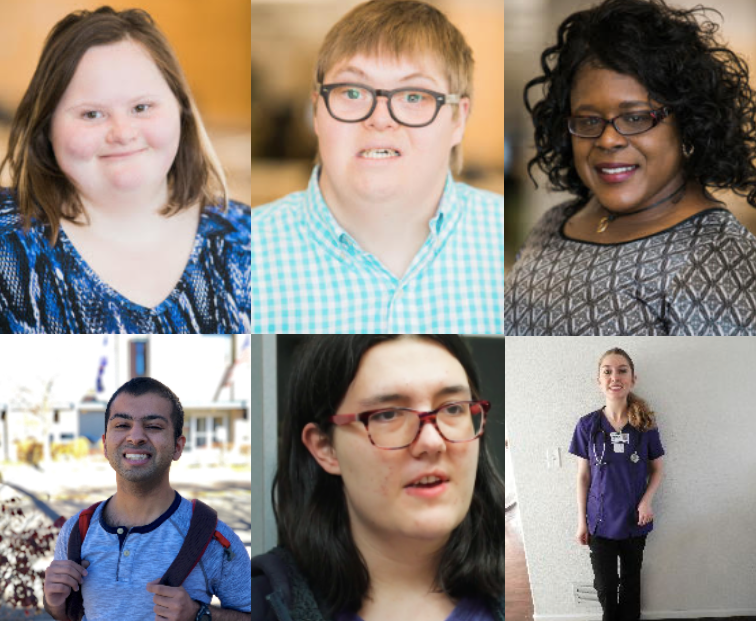 Collage of six graduates of inclusive higher education