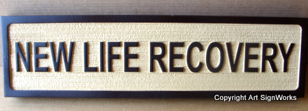 "SA28475 - Sandblasted Blade Sign for Holistic Medicine Center "" New Life Recovery""."